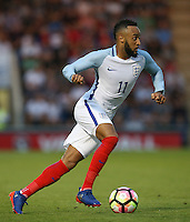 Nathan Redmond (Southampton) of England in action during the International EURO U21 QUALIFYING - GROUP 9 match between England U21 and Norway U21 at the Weston Homes Community Stadium, Colchester, England on 6 September 2016. Photo by Andy Rowland / PRiME Media Images.
