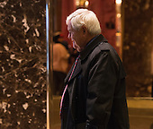 Political commentator and Former Speaker of the United States House of Representatives Newt Gingrich (Republican of Georgia) is seen in the lobby of Trump Tower in New York, NY, USA as he departs from the building on December 15, 2016. <br /> Credit: Albin Lohr-Jones / Pool via CNP