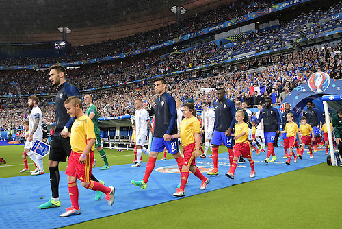 03.07.2016. St Denis, Paris, France. UEFA EURO 2016 quarter final match between France and Iceland at the Stade de France in Saint-Denis, France, 03 July 2016. The tams come out of the tunnel