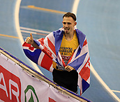 10th February 2019, Arena Birmingham, Birmingham, England; Spar British Athletics Indoor Championships; Jamie Webb looks to have won the men's 800m but he was subsequently disqualified during Day Two of the Spar Indoor Athletics Championships at Birmingham Arena