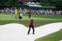 Tiger Woods (USA) hits out of a sand trap on the 4th hole during the final round of the 100th PGA Championship at Bellerive Country Club, St. Louis, Missouri, USA. 8/12/2018.<br /> Picture: Golffile.ie | Brian Spurlock<br /> <br /> All photo usage must carry mandatory copyright credit (&copy; Golffile | Brian Spurlock)