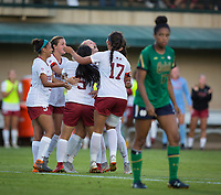 STANFORD, CA - September 7, 2018: Abby Greubel, Tegan McGrady, Jordan DiBiasi, Michelle Xiao, Sam Hiatt at Laird Q. Cagan. The Stanford Cardinal defeated Notre Dame 3-1.