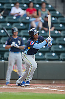 Adonis Paula (16) of the Myrtle Beach Pelicans follows through on his swing against the Winston-Salem Dash at BB&T Ballpark on May 11, 2017 in Winston-Salem, North Carolina.  The Pelicans defeated the Dash 9-7.  (Brian Westerholt/Four Seam Images)
