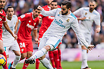 Nacho Fernandez of Real Madrid scores during the La Liga 2017-18 match between Real Madrid and Sevilla FC at Santiago Bernabeu Stadium on 09 December 2017 in Madrid, Spain. Photo by Diego Souto / Power Sport Images
