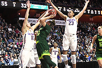 UNCASVILLE, CONNECTICUT -MAR 06: , UCONN ladies defeated USF, 70-54 in the finals of the AAC tournament <br /> as #23 Stevens and #11Nurse foil a shot attempt on March 6, 2018 in Uncasville, Connecticut. ( Photo by D. Heary/Eclipse Sportswire/Getty Images)