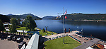 Port Alberni city centre Harbour Quay panoramic view of Alberni Inlet, Alberni Valley, Vancouver Island, British Columbia, Canada 2018 Image © MaximImages, License at https://www.maximimages.com