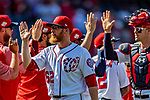 14 April 2018: Washington Nationals pitcher Sean Doolittle celebrates a win against the Colorado Rockies at Nationals Park in Washington, DC. The Nationals rallied to defeat the Rockies 6-2 in the 3rd game of their 4-game series. Mandatory Credit: Ed Wolfstein Photo *** RAW (NEF) Image File Available ***