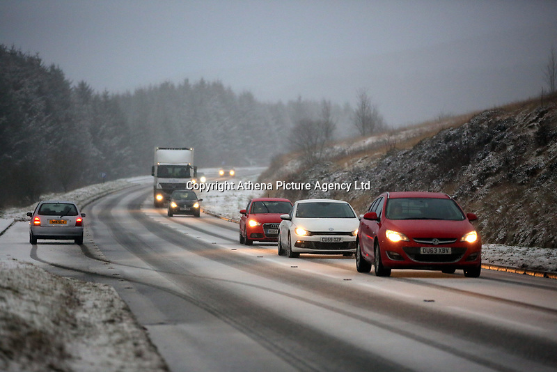 Pictured: Cars travel on the A470 in the Brecon Beacons, south Wales, UK.  Friday 08 December 2017<br /> Re: Snow and ice has been forecast for parts of the UK.