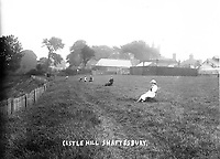 BNPS.co.uk (01202 558833)<br /> Pic: ShaftesburyHistoricalSociety/BNPS<br /> <br /> Pictured: Sit back and enjoy the view at Castle Hill in Shaftesbury <br /> <br /> These charming photos reveal everyday life at the turn of the 20th century in a thriving market town later made famous by a TV advert.<br /> <br /> The black and white snapshots of Shaftesbury, Dorset, were taken by Albert Tyler who set up a photography business there in 1901.<br /> <br /> There are various street scenes and also images of the locals in traditional attire, with men in flatcaps and women in bonnets.<br /> <br /> Tyler photographed the busy opening of the town market in 1902, and a garden party where men played croquet.