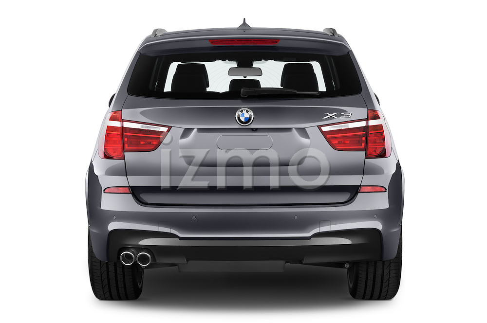 Straight rear view of 2017 BMW X3 xDrive28d 5 Door SUV Rear View  stock images