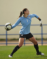 US goalie Hope Solo throws the ball in a game vs Sweden in the 2010 Algarve Cup in Ferreiras, Portugal.