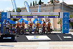 Espana team on the start ramp during Stage 1 of the Madrid Challenge by La Vuelta, a team time trial running 12.6km from Boadilla del Monte to Boadilla del Monte, Spain. 15th September 2018.                   <br /> Picture: Unipublic/Vicent Bosch | Cyclefile<br /> <br /> <br /> All photos usage must carry mandatory copyright credit (&copy; Cyclefile | Unipublic/Vicent Bosch)