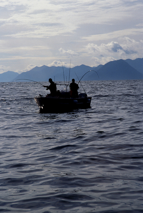 Two fishermen with a double hookup of Chinook salmon, Haida Gwai, Britsh Columbia, Canada