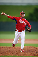 GCL Phillies relief pitcher Luis Gonzalez (81) during a game against the GCL Braves on August 3, 2016 at the Carpenter Complex in Clearwater, Florida.  GCL Phillies defeated GCL Braves 4-3 in a rain shortened six inning game.  (Mike Janes/Four Seam Images)