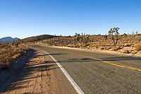 A road running through the Mojave Desert, California.