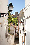 Narrow alleyway named Candil in the Moorish housing district of Albaicin, Granada, Spain with a view to the Alhambra