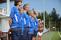 The Norweigan bench and trainers at the UEFA Womens U19 Championships at Stebonheath park Sunday 25th August 2013. All images are the copyright of Jeff Thomas Photography-www.jaypics.photoshelter.com-07837 386244-Any use of images must be authorised by the copyright owner.