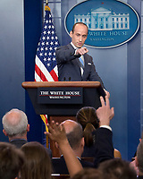 White House senior advisor for policy Stephen Miller conducts a press briefing on the Trump Administration's support of the Reforming American Immigration for a Strong Economy (RAISE) Act in the Brady Press Briefing Room of the White House in Washington, DC on Wednesday, August 2, 2017. <br /> Credit: Ron Sachs / CNP /MediaPunch