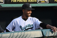 Jupiter Hammerheads outfielder Alonzo Harris (18) in the dugout during a game against the Bradenton Marauders on April 17, 2014 at McKechnie Field in Bradenton, Florida.  Bradenton defeated Jupiter 2-1.  (Mike Janes/Four Seam Images)