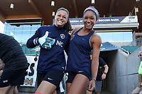 Cary, North Carolina  - Saturday August 05, 2017: Sabrina D'Angelo and Darian Jenkins prior to a regular season National Women's Soccer League (NWSL) match between the North Carolina Courage and the Seattle Reign FC at Sahlen's Stadium at WakeMed Soccer Park. The Courage won the game 1-0.