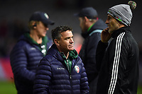 Leicester Tigers assistant coach Mike Ford speaks to Harlequins Head Coach Paul Gustard after the match. Gallagher Premiership match, between Harlequins and Leicester Tigers on May 3, 2019 at the Twickenham Stoop in London, England. Photo by: Patrick Khachfe / JMP