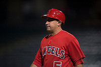 AZL Angels manager Jack Santora (5) during an Arizona League game against the AZL Diamondbacks at Tempe Diablo Stadium on June 27, 2018 in Tempe, Arizona. The AZL Angels defeated the AZL Diamondbacks 5-3. (Zachary Lucy/Four Seam Images)