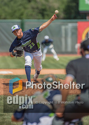 2 August 2016: Vermont Lake Monsters pitcher Will Gilbert on the mound against the Connecticut Tigers at Centennial Field in Burlington, Vermont. The Tigers defeated the Lake Monsters 7-1 in NY Penn League play.  Mandatory Credit: Ed Wolfstein Photo *** RAW (NEF) Image File Available ***