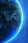 Glowing earth over blue background