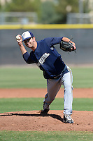 Milwaukee Brewers pitcher Tyler Spurlin (25) during an Instructional League game against the Seattle Mariners on October 4, 2014 at Peoria Stadium Training Complex in Peoria, Arizona.  (Mike Janes/Four Seam Images)