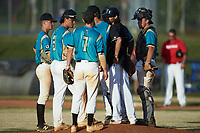 Mooresville Spinners head coach Tripp Hamrick holds a meeting on the mound during the game against the Lake Norman Copperheads at Moor Park on July 6, 2020 in Mooresville, NC.  The Spinners defeated the Copperheads 3-2. (Brian Westerholt/Four Seam Images)