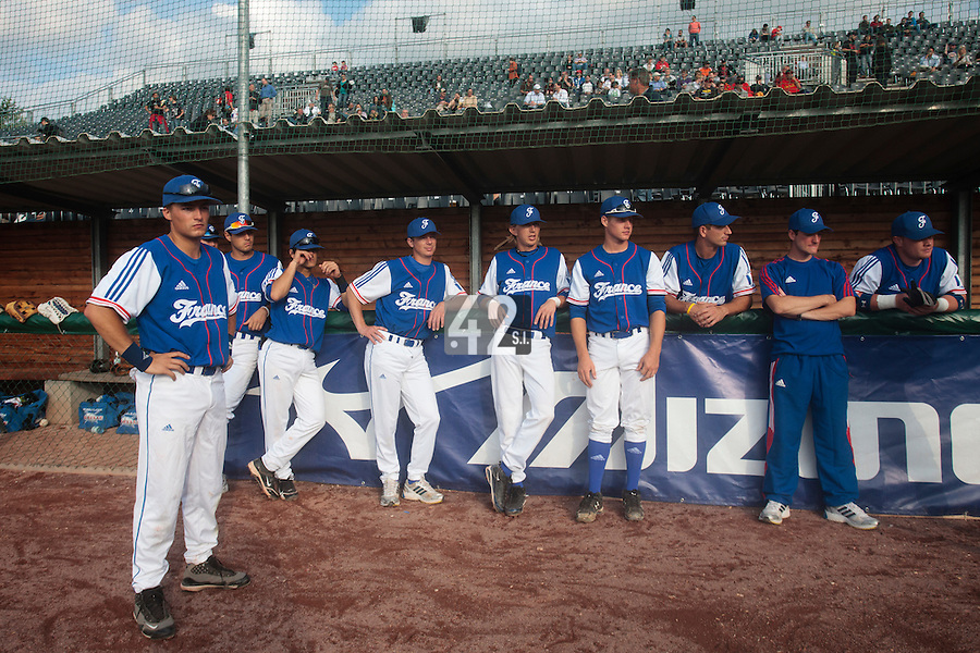 27 july 2010: Romain Scott Martinez, Joris Navarro, Maxime Lefevre, Anthony Piquet, Luc Piquet, Gregory Cros, Robin Allemand, Pierre Gabory, David Gauthier, of France, are seen prior to Germany 10-9 victory over France, in day 5 of the 2010 European Championship Seniors, in Stuttgart, Germany.