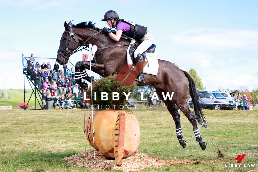 Stephanie Vervoort rides X Factor into third position during the Bates NZ CCI2* Championship Cross Country at the 2017 NZL-NRM National Three Day Event Championships. National Equestrian Center, Taupo. Saturday 13 May. Copyright Photo: Libby Law Photography