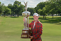 Justin Rose (GBR) and the trophy for winning the Fort Worth Invitational, The Colonial, at Fort Worth, Texas, USA. 5/27/2018.<br /> Picture: Golffile | Ken Murray<br /> <br /> All photo usage must carry mandatory copyright credit (© Golffile | Ken Murray)