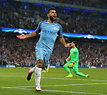 Sergio Aguero of Manchester City celebrates scoring his hat rick goal during the UEFA Champions League Group C match at The Etihad Stadium, Manchester. Picture date: September 14th, 2016. Pic Simon Bellis/Sportimage