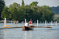 """Henley on Thames, United Kingdom, 3rd July 2018, Friday,  """"Henley Royal Regatta"""", """"Skiff Double"""", moving along by the, """"course Booms"""", Henley Reach, River Thames, Thames Valley, England, UK."""