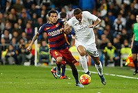 Real Madrid´s Danilo (R) and Barcelona´s Dani Alves during 2015-16 La Liga match between Real Madrid and Barcelona at Santiago Bernabeu stadium in Madrid, Spain. November 21, 2015. (ALTERPHOTOS/Victor Blanco) /NortePhoto
