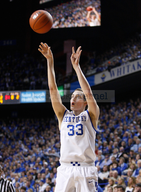 UK's Kyle Wiltjer shoots against Arkansas at Rupp Arena on Tuesday, Jan. 17, 2012. Photo by Scott Hannigan | Staff