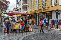 Fort-de-France, Martinique.  A Candy Vendor's Stand in the Rue de la Republique, a Pedestrian Walkway.