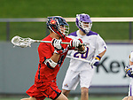Richmond's Eric Hael (#4) prepares to shoot as UAlbany Men's Lacrosse defeats Richmond 18-9 on May 12 at Casey Stadium in the NCAA tournament first round.
