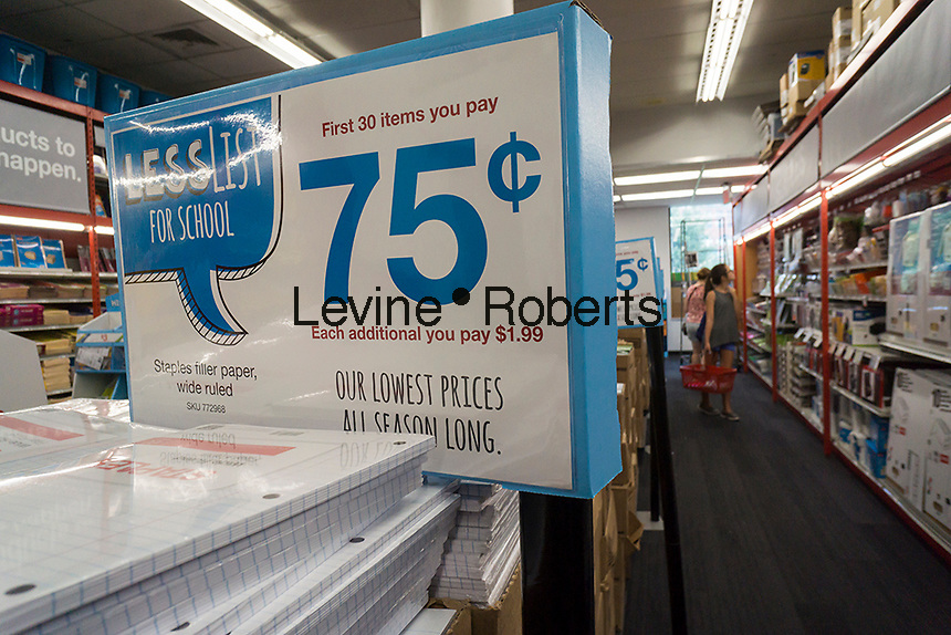 Back to school shopping is seen in a Staples store in New York on Sunday, August 21, 2016. Back-to-school is the second largest shopping season. (© Richard B. Levine)