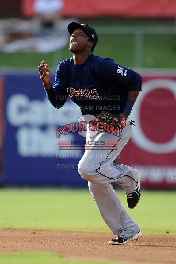 Huntsville Stars shortstop Hector Gomez #4 reacts to the ball during game one of a double header against the Tennessee Smokies at Smokies Park on July 8, 2013 in Kodak, Tennessee. The Stars won the game 2-0. (Tony Farlow/Four Seam Images)