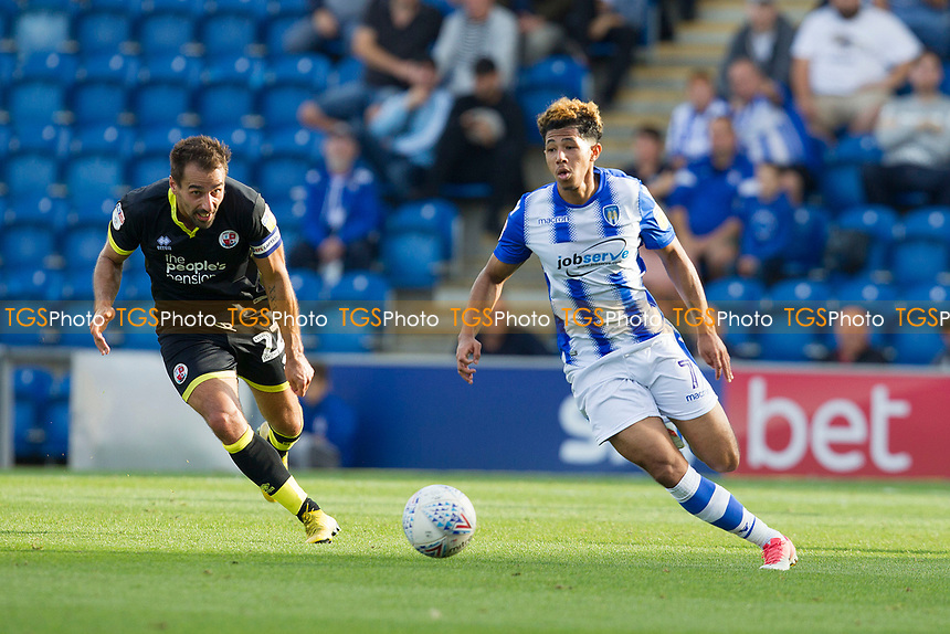 Courtney Senior of Colchester United tuns inside the defence during Colchester United vs Crawley Town, Sky Bet EFL League 2 Football at the JobServe Community Stadium on 13th October 2018