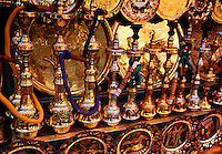 Traditional Shisha water pipes and brass plates Luxor Egypt