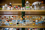 """DAVIS - APRIL 15:  Glass jars and beakers in the lab of Pamela Roland, a plant geneticist, at UC Davis, in Davis, Ca., on Friday, April 15, 2011. Husband and wife team Pamela Ronald, a plant geneticist, and Raoul Adamchak, a bio-gardener, co-authored """"Tomorrow's Table: Organic Farming, Genetic and the Future of Food."""""""