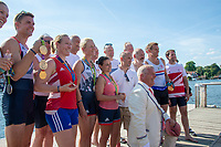 """Henley on Thames, United Kingdom, 3rd July 2018, Saturday,  """"Henley Royal Regatta"""",  Leander Club Olympians, celebrating Leander 200 year row past, showing Olympic medals,  View, Henley Reach, River Thames, Thames Valley, England, UK."""