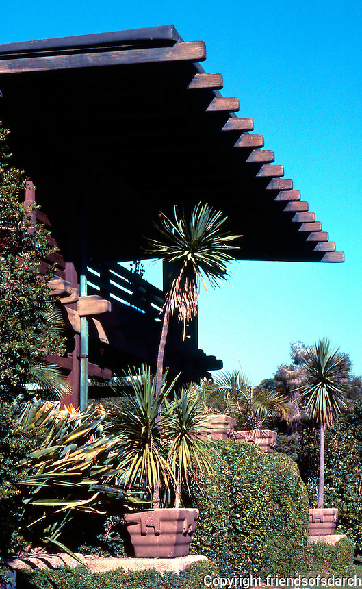 Greene & Greene: Gamble House. North end of house from front entrance.  Photo '77.