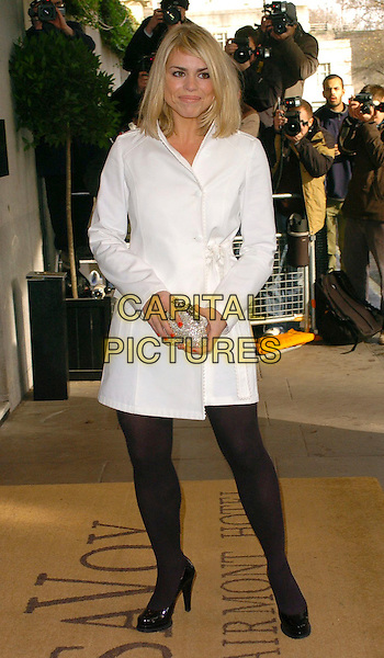 BILLIE PIPER.The South Bank Show Awards,.London, England, 27th January 2006..full length  short white coat belted mac black tights patent shoes silver purse clutch bag.Ref: CAN.www.capitalpictures.com.sales@capitalpictures.com.©Capital Pictures