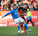 Dundee United v St Johnstone.....21.02.15<br /> Chris Millar is fouled by Ryan Dow<br /> Picture by Graeme Hart.<br /> Copyright Perthshire Picture Agency<br /> Tel: 01738 623350  Mobile: 07990 594431