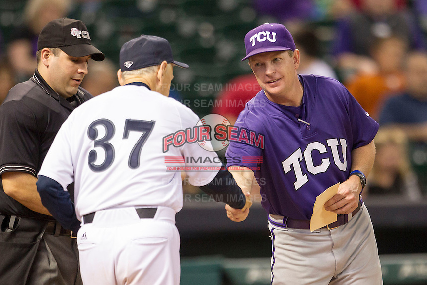 TCU Horned Frogs head coach Jim Schlossnagle #22 shakes hands with Rice Owls head coach Wayne Graham #37 before the NCAA baseball game against the Rice Owls on March 1, 2014 during the Houston College Classic at Minute Maid Park in Houston, Texas. Rice defeated TCU 1-0. (Andrew Woolley/Four Seam Images)