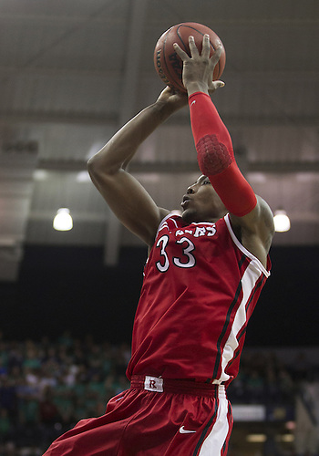 January 19, 2013:  Rutgers forward Wally Judge (33) goes up for a shot during NCAA Basketball game action between the Notre Dame Fighting Irish and the Rutgers Scarlett Knights at Purcell Pavilion at the Joyce Center in South Bend, Indiana.  Notre Dame defeated Rutgers 69-66.
